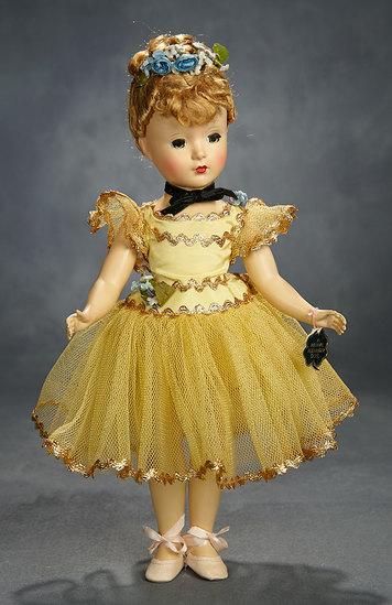 "Petite ""Nina Ballerina"" in Yellow Tutu with Gilt Metallic Trim, 1949 400/500"