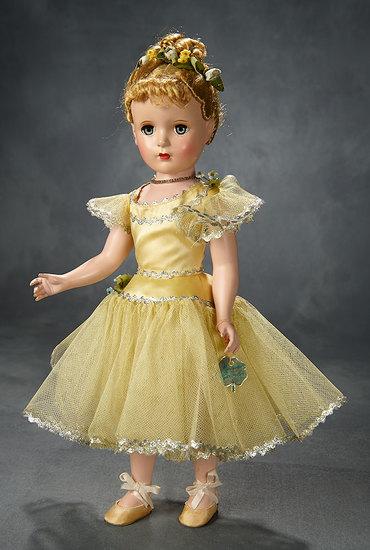 "Blonde ""Nina Ballerina"" in Yellow Satin with Silver Rick-Rack Trim, 1949 500/700"