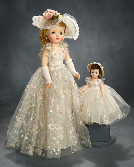 """Blonde Cissy in """"Fragile and Flowery"""" Tulle Gown with Painted Flowers, 1958 1600/2100"""