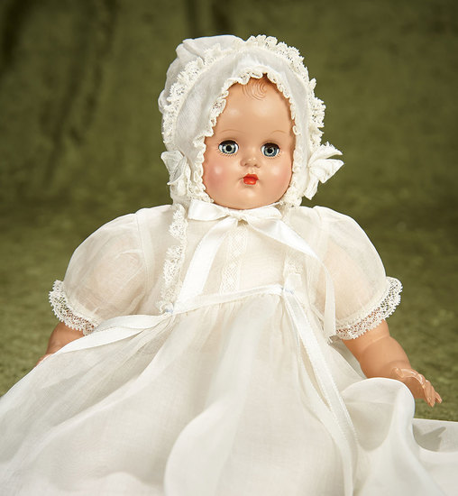 "12"" Madame Alexander baby with sleep eyes, in original tagged costume. $200/400"