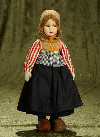 "14"" Felt character doll with painted features and original Dutch girl costume. $200/300"