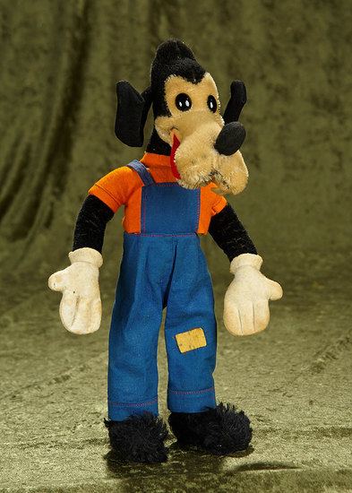 "14"" 1930s mohair comic character with original costume. $400/500"