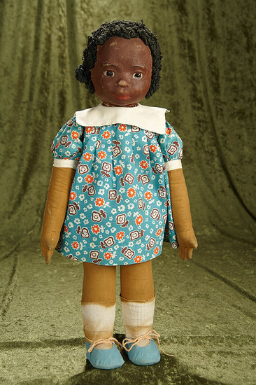 "22"" American cloth project doll from Milwaukee WPA with rare brown complexion. $800/1200"