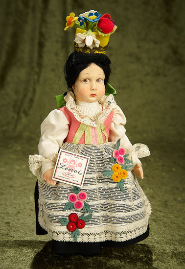 "11"" Italian felt character girl in costume of Val Gardena by Lenci, with original tags. $400/600"