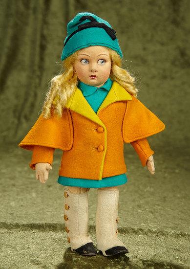 "13"" Italian felt fashionable girl by Lenci in original costume. $800/1100"