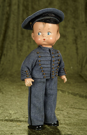"14"" American composition ""Skippy"" by Effanbee in rare cadet costume and cap. $600/900"