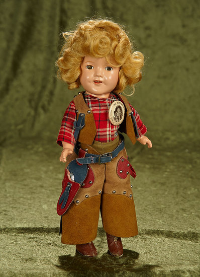 "11"" Rare smallest size American composition Shirley Temple in Texas Ranger costume. $700/900"