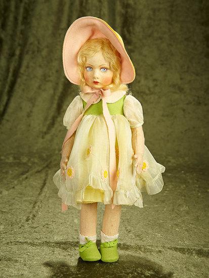 "16"" Italian felt girl in pretty original party dress and bonnet by Lenci. $600/900"
