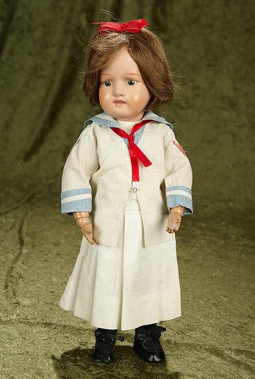 "15"" American wooden girl by Schoenhut in antique sailor costume. $400/500"