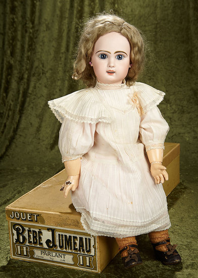 "25"" French Bisque Bebe Jumeau, Size 11, with Original Signed Shoes and Box. $2200/2600"
