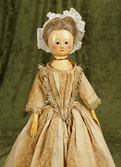 "20"" English Wooden Doll with Enamel Eyes. $1800/2100"