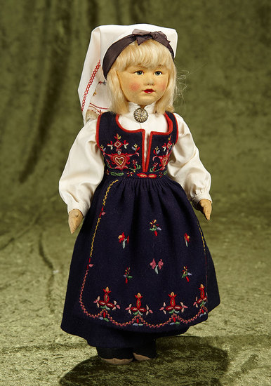 "14"" Norwegian cloth character doll in traditional costume by Ronnand Pettersen. $400/600"