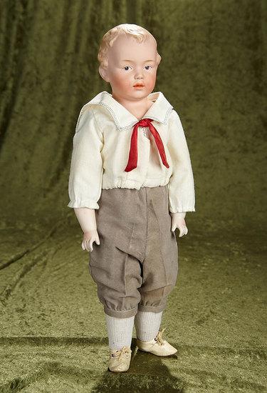 "19"" German bisque dimple-cheeked boy by Gebruder Heubach. $600/900"