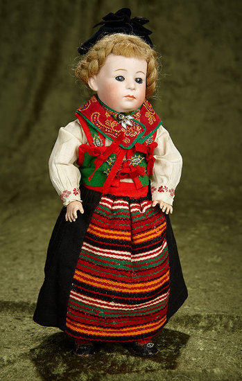 "13"" German Bisque Pouty, 7246, by Gebruder Heubach in Folklore Costume. $1200/1500"