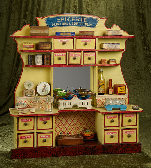 """French wooden toy """"Epicerie"""" with foods, labeled drawers. and tin scale. $800/1200"""