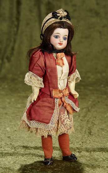 """11"""" Petite French bisque bebe by Gaultier Freres in original dress. $400/500"""