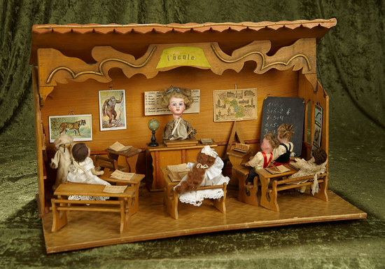 """22"""" w. French musical wooden schoolroom with teacher, students, desks, accessories. $1200/1500"""