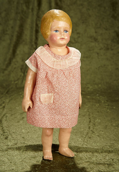 """16"""" American cloth doll with rare bobbed hair by Martha Chase. $600/800"""