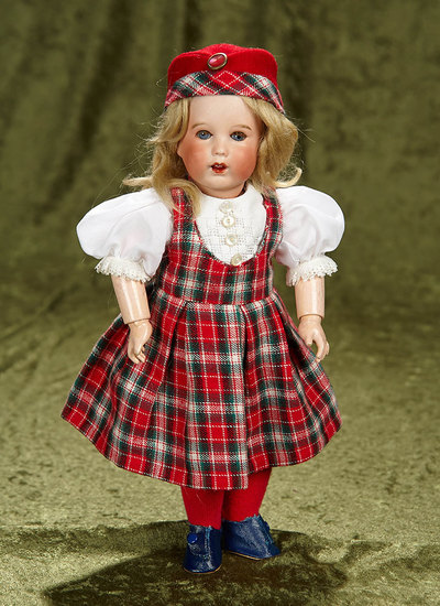"""12"""" French bisque character by SFBJ in Scottish costume. $500/700"""