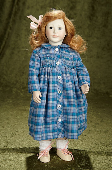 "16"" ""Emily"" with wooden ball-jointed body by Lynne and Michael Roche. $500/700"