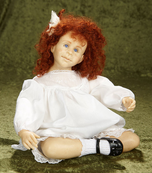 "17"" Portrait doll of red-haired freckled girl by Jamie Williamson. $600/800"