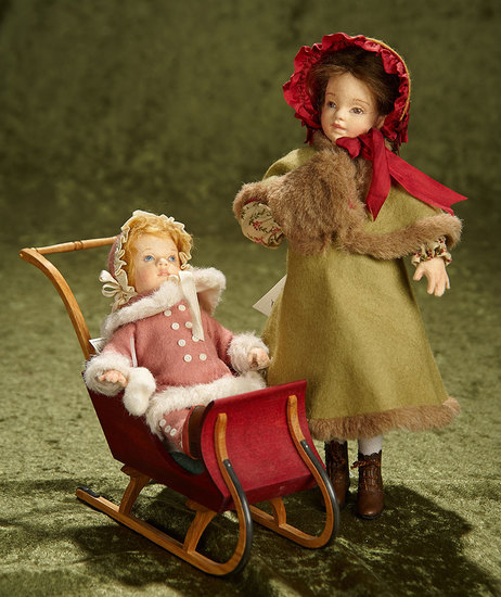 "10"" girl. Felt ensemble of Mary Frances and Baby Grace from Victorian Children Series. $600/800"