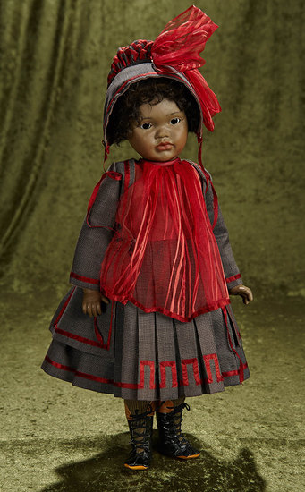 """18"""" Brown-complexioned bisque artist doll by Ellery Thorpe. $400/500"""
