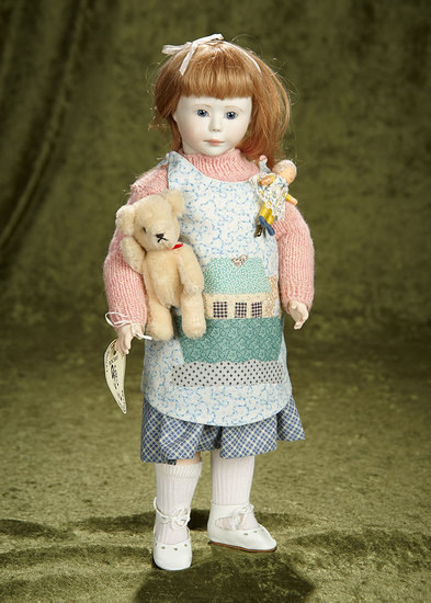 """15"""" """"Hannah"""" in petite size with wooden ball-jointed body by Lynne and Michael Roche. $500/700"""