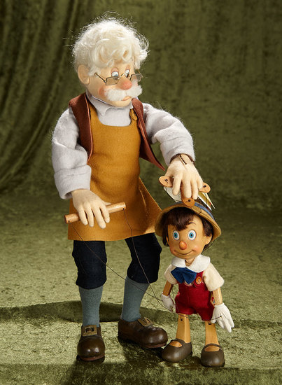 """18"""" and 9"""" Geppetto and Pinocchio Series I Marionette by R. John Wright . N0 64/500. $800/1200"""