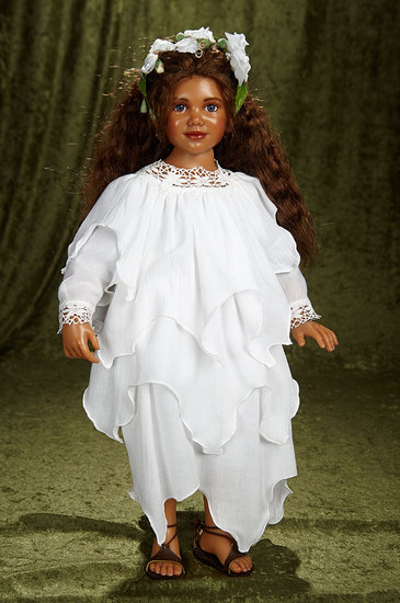 """23"""" Brown-complexioned limited edition portrait doll by Ann Timmerman, 5/20. $400/600"""