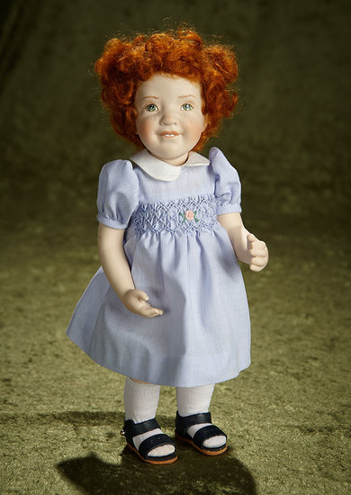 """12"""" Red-Haired girl in blue dress by Beatrice Perini. $500/800"""