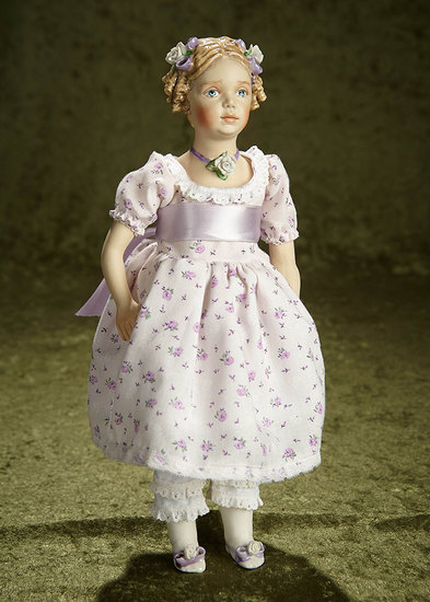 """13"""" Porcelain doll with Lavender Ribbons and Necklace by Kathy Redmond. $300/500"""