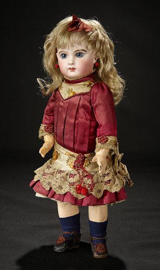 French Bisque Bebe E.J. Emile Jumeau, Original Couturier Costume by Ernestine Jumeau 4500/6500