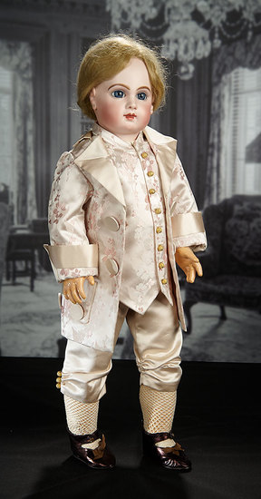 French Bisque Blue-Eyed Bebe E.J., Emile Jumeau in Exclusive Christian Dior Costume 7000/9000