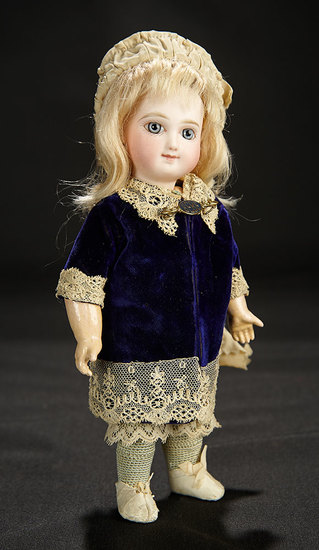 Tiny French Bisque Premiere Bebe by Emile Jumeau with Rare Smiling Expression 4500/6500
