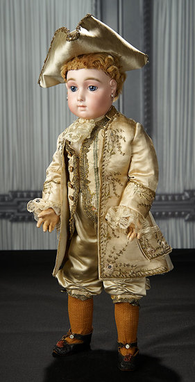French Bisque Blue-Eyed Bebe Triste in Marquis Costume by Emile Jumeau, Size 9 11,000/15,000