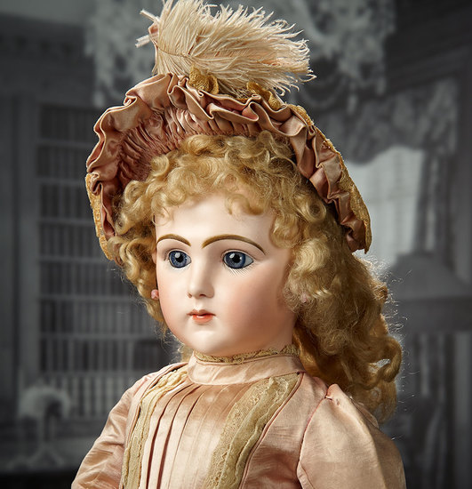 French Bisque Art Character, 225, Jumeau, Couturier Costume, Parasol, Original Box 25,000/35,000