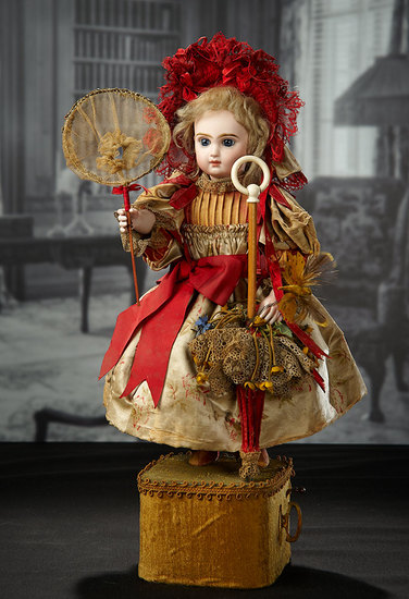 "French Musical Automaton ""Little Girl with Butterfly Net"" by Leopold Lambert 6000/8500"