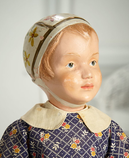 Very Rare American Wooden Schoenhut Girl, Model 106, with Carved Hair and Bonnet 1800/2500