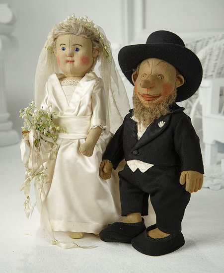 Wonderful Pair of Early German Felt Character Dolls by Steiff as Bride and Groom  4000/5500