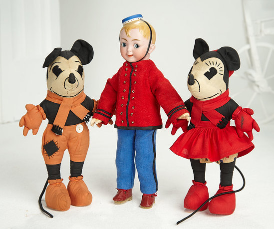 Pair, American Cloth Mickey and Minnie Mouse  400/600