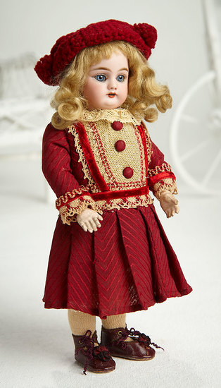 Petite German Bisque Child, 99, by Handwerck in Wonderful Antique Costume 350/500
