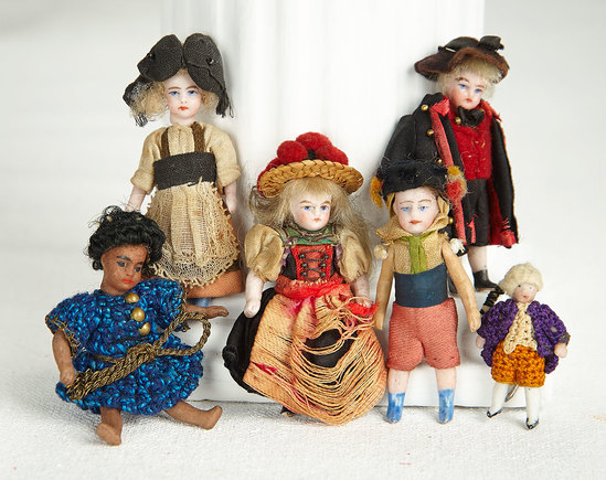 Five All-Bisque Tiny Dolls for the French Market 300/400
