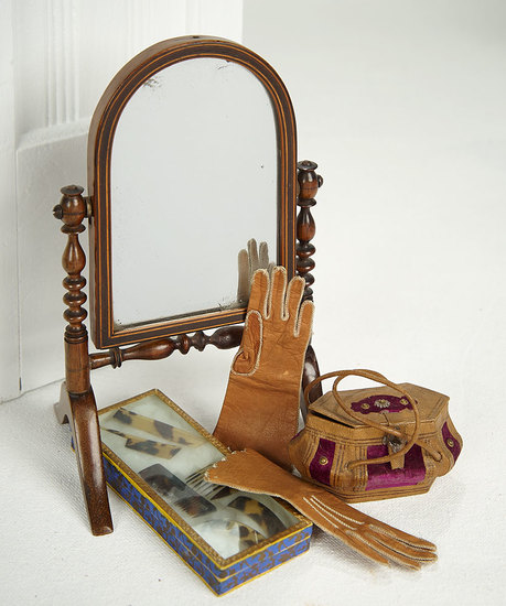 French Mahogany Psyche Mirror for Poupee 300/400