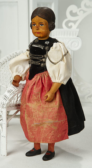 Swiss Carved Wooden Doll by Huggler in Original Costume 500/800