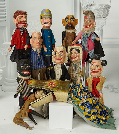 Eleven Early Carved Wooden Characters from Punch and Judy Puppet Theatre 700/1100