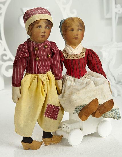 Pair, American Cloth Dolls, Jan and Greta, from Babyland Rag Doll Series 400/500