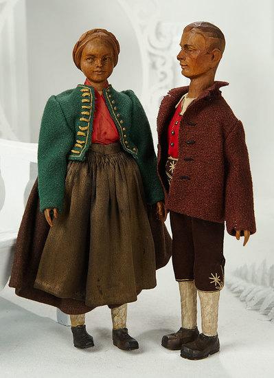 Pair, German Carved Wooden Dolls in Original Costumes 600/900