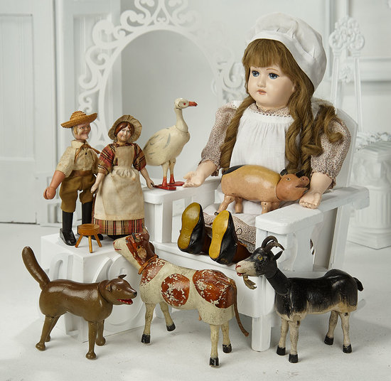 American Wooden Farm Set by Schoenhut with Farmer, Wife and Four Animals 1200/1500