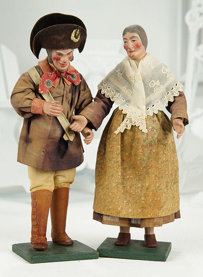 Pair, Very Rare French Carton Dolls with Original Costumes 1100/1500